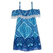 Byer California Printed Chiffon Sleeveless Fit & Flare Dress - Big Kid