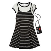 Knit Works Sleeveless Black White Stripe Slip Dress