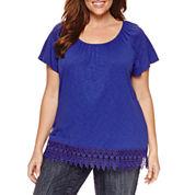 St. John's Bay Short Sleeve Scoop Neck T-Shirt-Plus