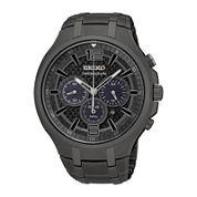 Seiko® Recraft Mens Gray Chronograph Solar Bracelet Watch