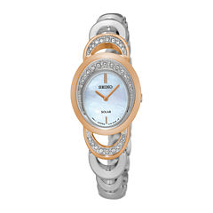 Seiko® Womens Crystal-Accent Two-Tone Oval Mother-of-Pearl Solar Bracelet Watch SUP306