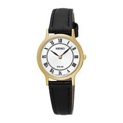 Seiko® Womens Gold-Tone Black Leather Solar Watch SUP304