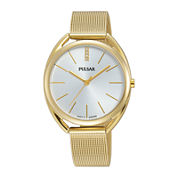 Pulsar® Womens Crystal-Accent Gold-Tone Mesh Bracelet Watch