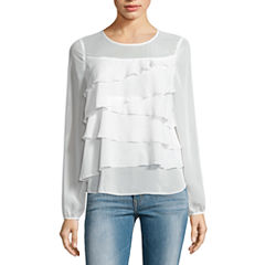 Belle + Sky Long Sleeve Tiered Ruffle Top