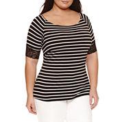 Bisou Bisou 3/4 Sleeve Boat Neck T-Shirt-Plus