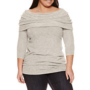 Boutique + Long Sleeve Pullover Sweater-Plus