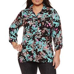 Boutique + 3/4 Sleeve Button-Front Shirt-Plus