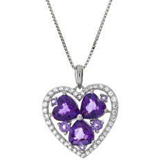 Lab-Created Amethyst and White Sapphire Heart Pendant Necklace