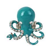 Bleu™ Silver-Tone Blue Octopus Stretch Ring