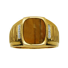 LIMITED QUANTITIES Mens Genuine Tigers Eye Diamond-Accent 10K Yellow Gold Ring