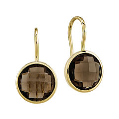 Genuine Smoky Quartz 14K Yellow Gold Drop Earrings