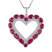 Lab-Created Ruby & White Sapphire Sterling Silver Heart Pendant Necklace