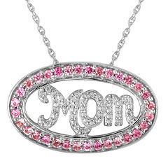 """Lab-Created Pink Sapphire and Diamond-Accent """"Mom"""" Pendant Necklace"""