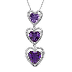 Lab-Created Amethyst with Diamond-Accents Sterling Silver Triple Heart Pendant Necklace