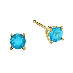Genuine Swiss Blue Topaz 14K Yellow Gold Stud Earrings