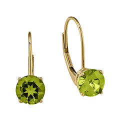Genuine Peridot 14K Yellow Gold Round Drop Earrings