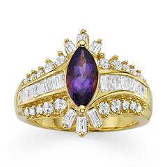 Genuine Amethyst & Lab-Created White Sapphire 14K Gold over Silver Cocktail Ring