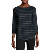 Made For Life 3/4 Sleeve Crew Neck T-Shirt-Petites