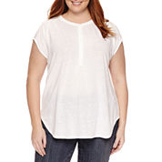 Liz Claiborne Sleeveless Cap Sleeve Henley Shirt Plus