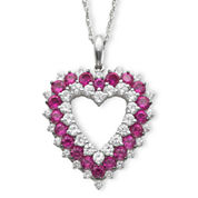 Lab-Created Ruby & White Sapphire Heart Pendant Necklace
