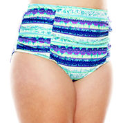 Breaking Waves Free Spirited Tie-Dye Shirred High-Waist Swim Bottoms - Plus