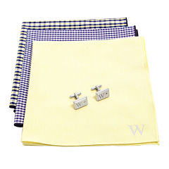 Personalized Gingham Handkerchief Set with Zircon Jewel Cufflinks
