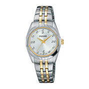 Pulsar® Ladies Night Out 2 Womens Crystal Accent Two-Tone Bracelet Watch