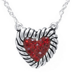 Sterling Silver-Plated Brass Red Crystal Heart Rope Border Pendant Necklace