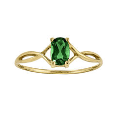 Oval Genuine Emerald 14K Yellow Gold Birthstone Ring