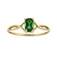Oval Genuine Emerald 14K Yellow Gold Birthstone Ring