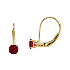 Lab-Created Ruby 14K Yellow Gold Leverback Earrings