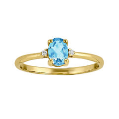 Genuine Swiss Blue Topaz Diamond-Accent 14K Yellow Gold Birthstone Ring