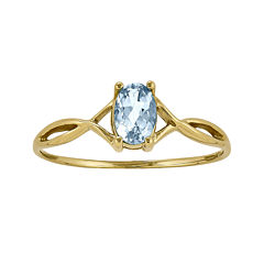 Genuine Aquamarine 14K Yellow Gold Ring