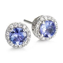 Genuine Tanzanite & Lab-Created White Sapphire Stud Earrings