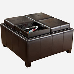Flynn Bonded Leather Tray-Top Storage Ottoman