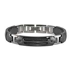 Edward Mirell Black Ti™ Mens 8 Inch Black Spinel Sterling Silver Titanium Link Bracelet