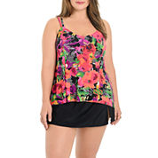 Le Cove Floral Tankini Swimsuit Top-Plus