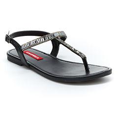 UNIONBAY® Appeal Jeweled T-Strap Slingback Flat Sandals