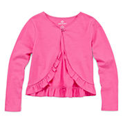 Okie Dokie Long Sleeve Woven Cardigan - Toddler