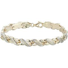 10K Two-Tone Gold Diamond-Cut  Stampato Link Bracelet