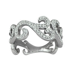 Crystal Sterling Silver Swirl Ring