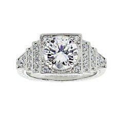 diamonart cubic zirconia sterling silver halo miligrain ring - Jcpenney Rings Weddings