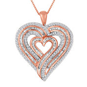 3/4 CT. T.W. Diamond 14K Rose Gold Over Brass Pendant Necklace