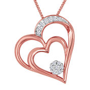 diamond blossom 1/10 CT. T.W. Diamond 14K Rose Gold Over Sterling Silver Necklace