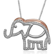 1/10 CT. T.W. Diamond 14K Rose Gold Accent Elephant Pendant Necklace