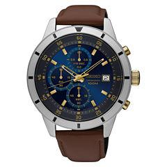 Seiko Mens Brown Strap Watch-Sks577