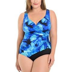Le Cove Tie Dye One Piece Swimsuit Plus