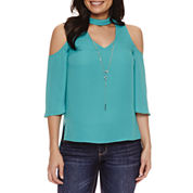 Bold Elements Cold Shoulder Necklace Top