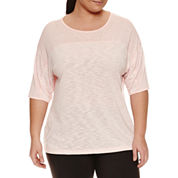 Xersion Short Sleeve Boat Neck T-Shirt-Plus