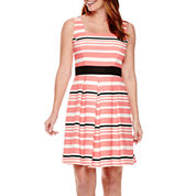 Danny & Nicole® Sleeveless Striped Fit-and-Flare Dress - Petite